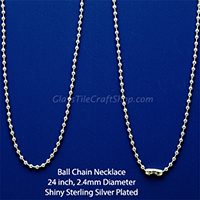 24 Inch Silver Plated Ball Chain Necklaces