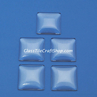 25mm Square Domed Clear Glass Cabochons