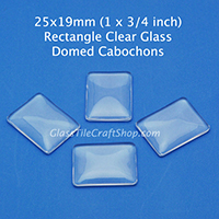 25x19 Rectangle Clear Glass Cabochon