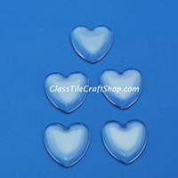25mm Clear Glass Heart Cabochon