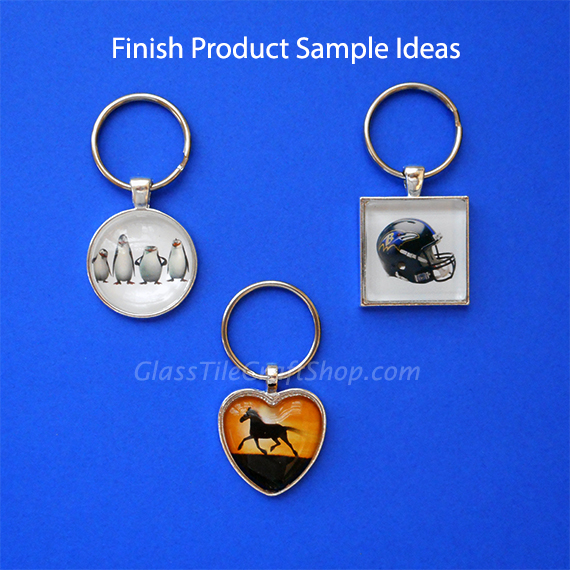 13cb4bf173 DIY Glass Cabochon Keyring Kit with Tray | Glass Tile Craft Shop