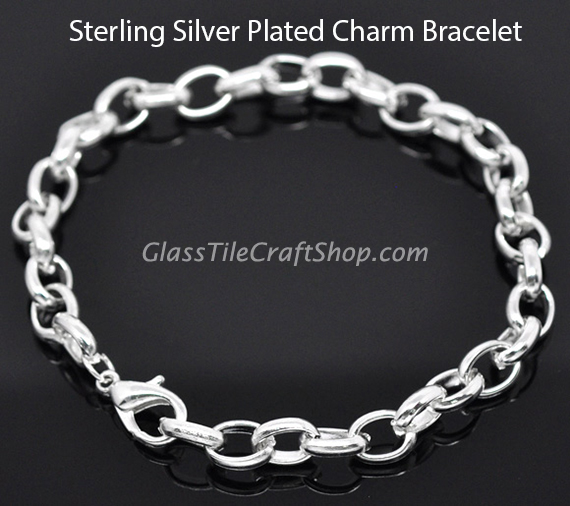 Charm Bracelet Sterling Silver Plated 8 1/4 inch