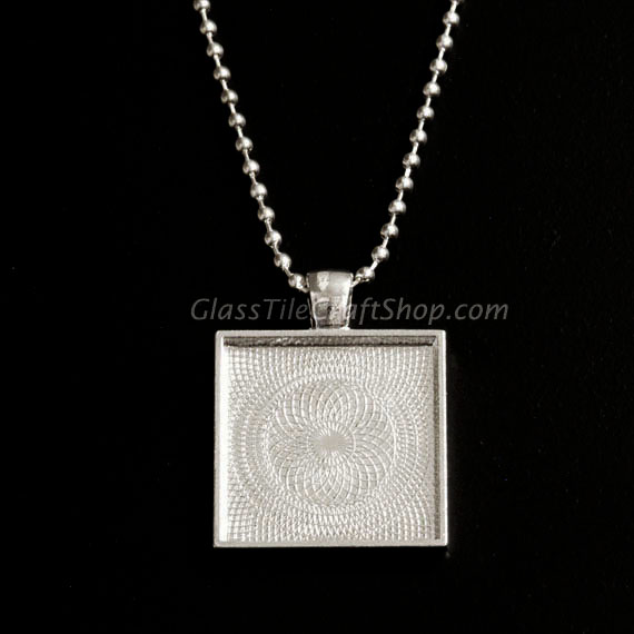 Square Pendant Tray Blank with Necklace
