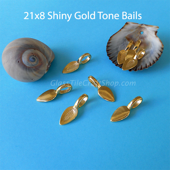 Gold Tone Glue on Bails for Pendants