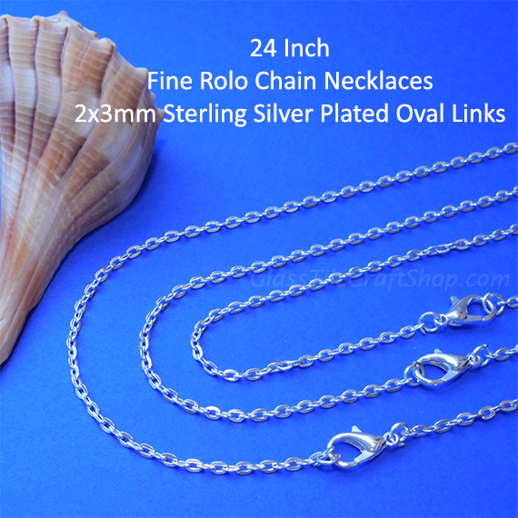 24 Inch 2x3mm Oval Link Sterling Silver Plated Rolo Chain Necklace