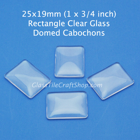 25x19 Rectangle Domed Glass Cabochon