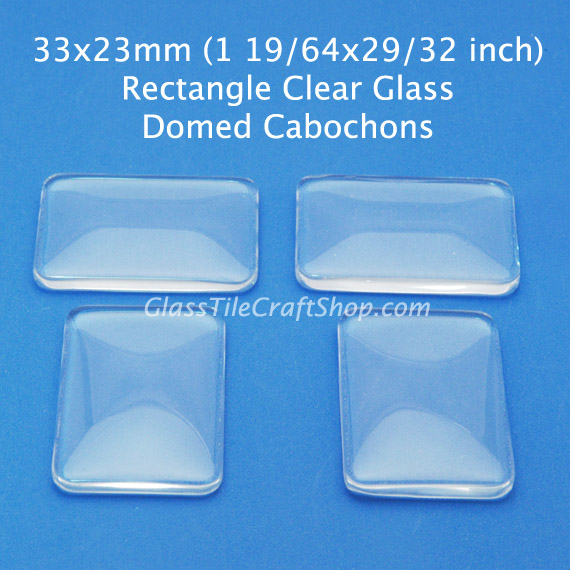 33x23 Rectangle Domed Glass Cabochon