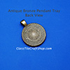 back view of 25mm antique bronze round pendant tray