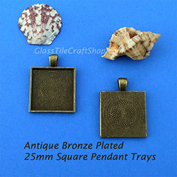 Antique Bronze 25mm Square Pendant Tray