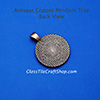 back view of 25mm antique copper round pendant tray