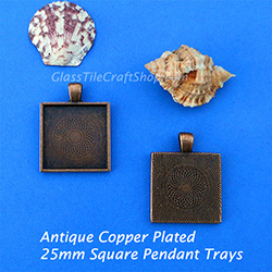 Antique Copper 25mm Square Pendant Tray