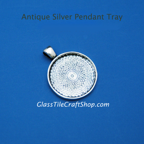 25mm Antique Silver Pendant Tray