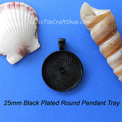 Black 25mm Round Pendant Tray