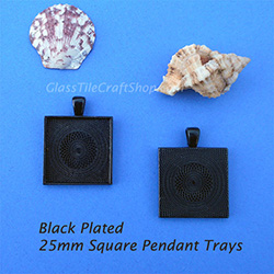 Black 25mm Square Pendant Tray