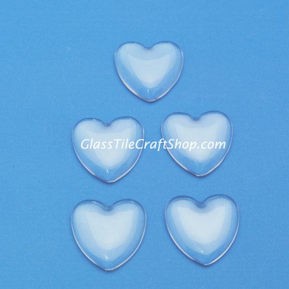 Heart Glass Cabochon 25mm Domed