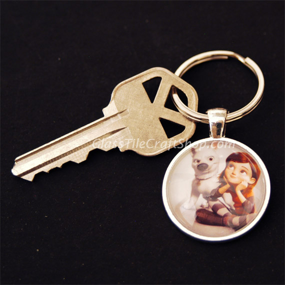 Round Glass Tile Key Chain
