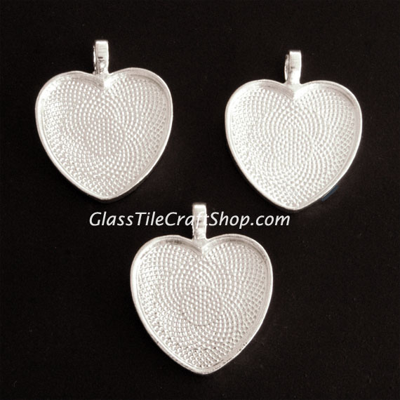 Sterling Silver Plated Heart Shaped Pendant Tray