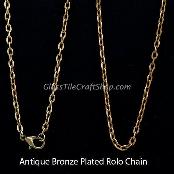 30 Inch Antique Bronze Rolo Chain Necklace