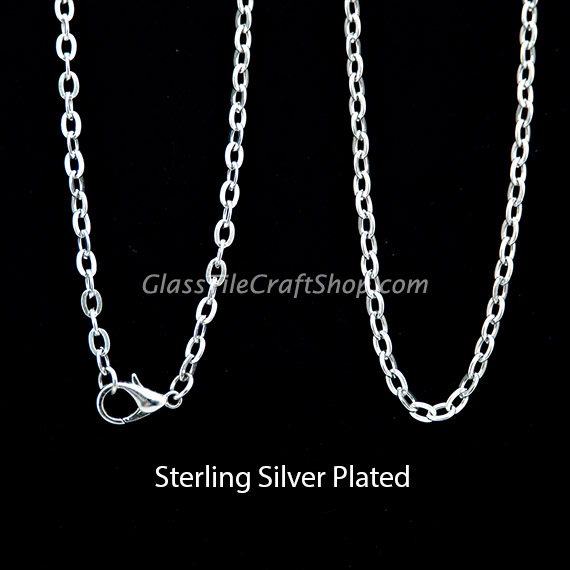 30 Inch Sterling Silver Plated Rolo Chain Necklace