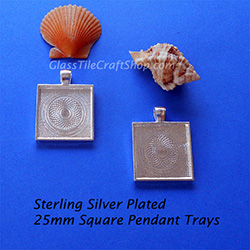 Sterling Silver Plated 25mm Square Pendant Tray